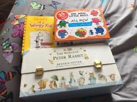 Children's boxes set of books - mr men & little miss, world of peter rabbit & wimpy kid