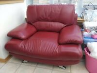 Harveys Suite, Chair and footstool (red leather)