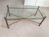 Glass and Brass Coffee Table (ex M & S)