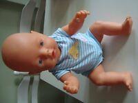 "ZAPF CREATION BABY BORN DOLL 17""IN BABY BORN BLUE BOYS CLOTHES"