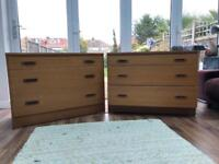 2x 1960's style chest of drawers