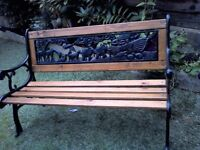 Child's Cast Iron and Wood Garden Bench/Patio Furniture.