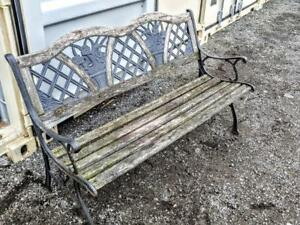 Oakville RUSTIC WOOD BENCH weathered wood Metal Cast Iron Legs Primitive Rough Country Cottage Farmhouse Decor