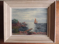 Vintage Oil Painting on Canvas of French Coastal Scene Signed by Artist