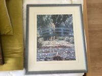 Monet Print in large blue frame