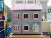 Wooden Dolls House with Furniture & Accessories
