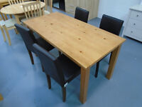 Ex Display Table And 4 Black Chairs. Already Built And Can Deliver. 150cm by 73.5cm