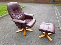 Single leather armchair sofa with a foot stool in very good condition
