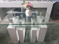White Milan Nest of Tables or Coffee / End Table