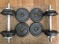 ADJUSTABLE DUMBBELLS WEIGHTS SET - CAST IRON - NEVER USED 15kg