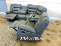 Grey or black leather recliner corner sofa