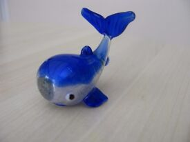 Small Silver, Clear and Blue Glass Art Whale