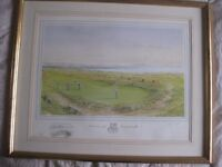 Framed Golf print of Gullane Hill. Signed limited addition by Bill Waugh