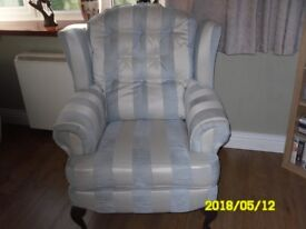 Easy Chair - light blue and off white upholstered