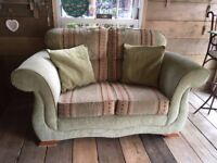 Two Seater Pale Green and Gold Sofa Settee in Excellent Condition