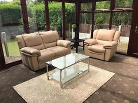 Beige Leather 2 Seater Sofa + Electric Recliner Armchair Excellent Condition