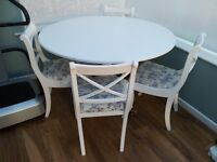 Shabby Chic Painted Dining Table and Chairs