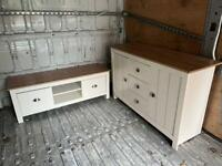 White cabinet and tv stand