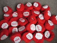 Lovely red yarn for sale, mainly wool mix, plus some green