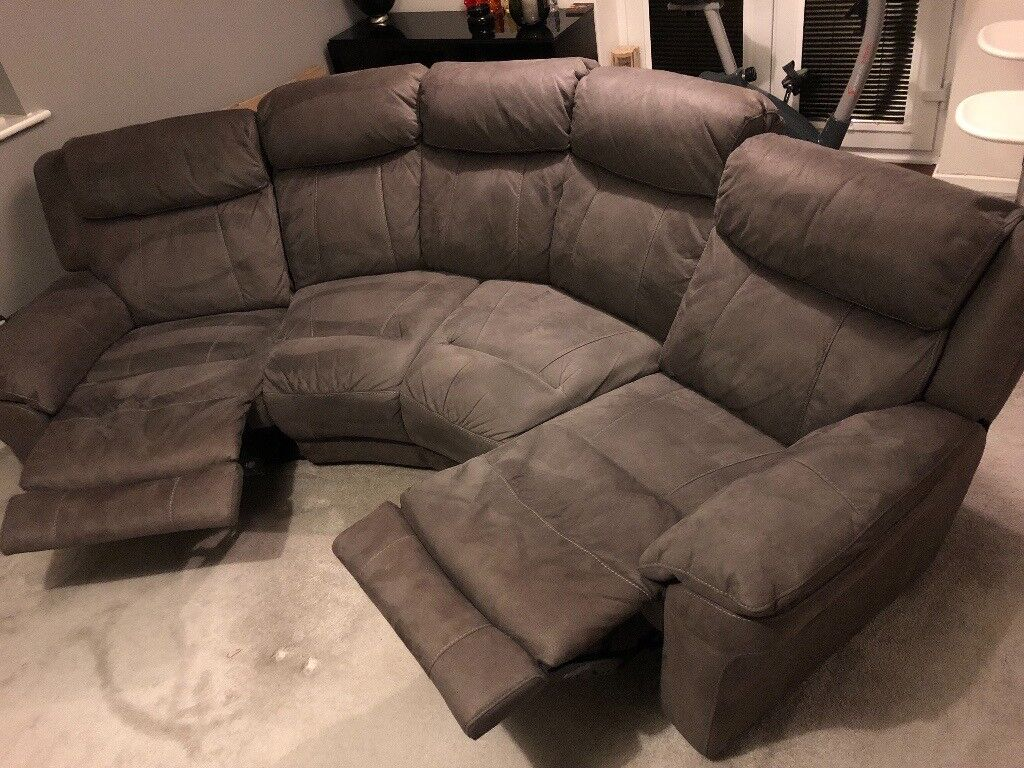 Dfs Curved Sofa Double Recliner And Storage Footstool In