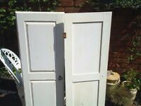 Pair of solid pine doors painted in shabby chic style with brass effect handle and hinges