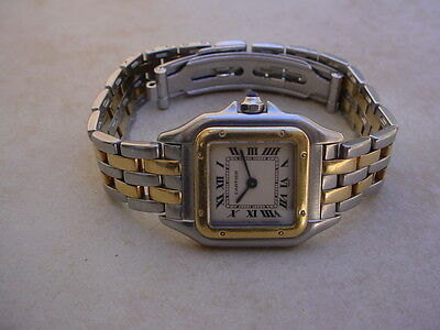 Beautiful Cartier Panther Lds. 18K/SS 2 Gold Rows  Ref. 1120 with Cartier Box.