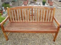 WINCHESTER OVAL BACK SOLID WOOD 3 SEATER GARDEN BENCH IN GOOD CONDITION