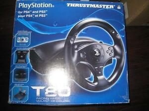 Thrustmaster T80 Sony PS4 / PS3 Racing Steering Wheel. Officially Licensed. 2 Gear Shift Pedals with Foot Rest. Like NEW