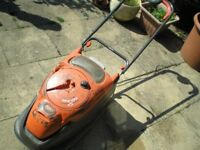 Flymo electric mower with grass box