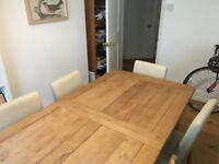 4 white / cream dining chairs, imitation leather