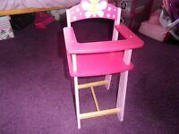 Dolls wooden highchair