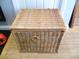 Large rustic wicker storage basket, ideal as toy box, bedding / blankets
