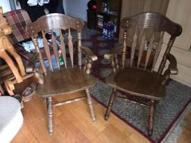 Beautiful Matching Pair of Hand Carved Oak Chairs