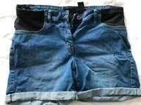 Next blue denim maternity shorts