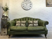 Lovely olive green 2 seater Chesterfield sofa. Can deliver