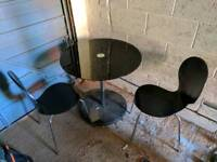 Small black Glass Topped dining table & 2 Chairs