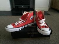Red converse Chuck Taylor High. Size 7.