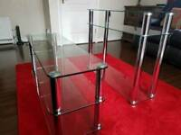 Chrome and glass TV stand and console table