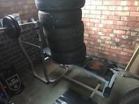 Weight bench and cast iron free Wright's bars etc