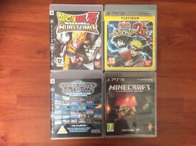 PS3 Naruto Storm 2, DBZ Burstlimit, Minecraft, SEGA ultimate collection