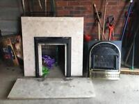 Gas Fireplace with marble surround.