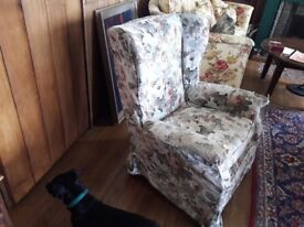 Vintage armchair wing back comfortable loose cover with cushion