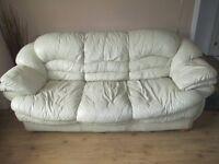 Cream leather 3-2-1 suite (3 & 2 seater sofas plus chair)