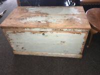 Charming Antique Distressed Looking Solid Pine Blanket Box/Chest/Trunk/Ottoman