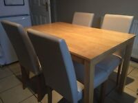 SOLID WOOD DINING TABLE 4 LEATHER CHAIRS CAN DELIVER FREE