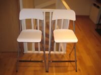 2 foldable white bar stools with backrests (Franklin bar stools from ikea)
