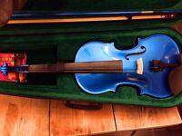 Violin, Metallic Blue, Very Good Condition, Includes Case, Bow, Guidebook, Spare strings & Rosin