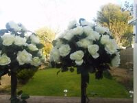 2 artificial rose trees ideal for weddings etc