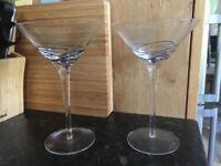 8 Martini Glasses with black swirl detail