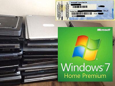 Windows 7 Home Premium Key License Product COA 32 64bit Scrap Dell HP Laptop